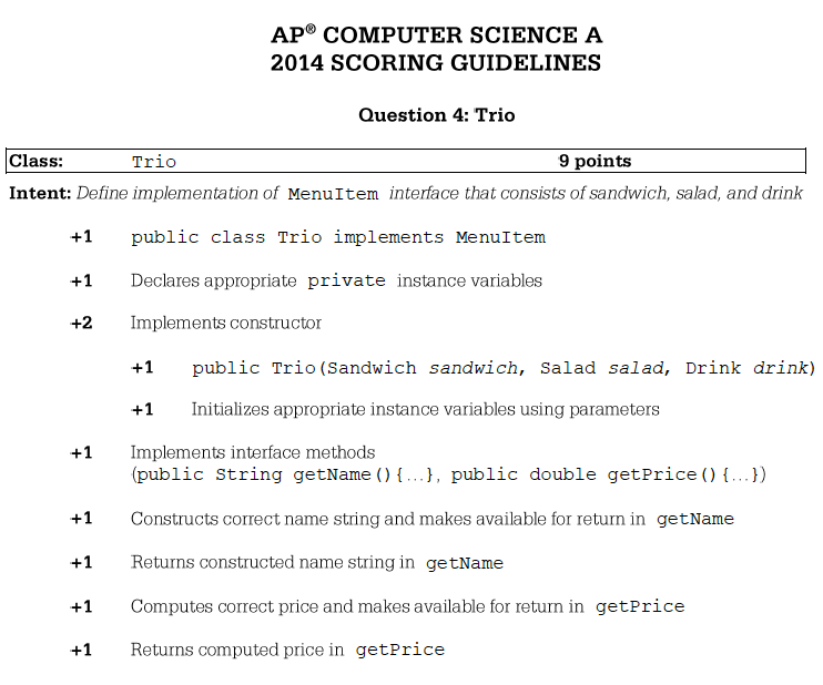 2014 ap computer science free response answers trio